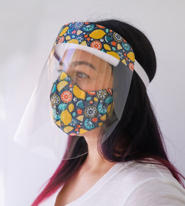 Fruity Face Shield with matching Fruit Reversible, double Sided Cotton Washable Adult Face Mask,Breathable Reversible Mask,Handmade in USA Face Mask