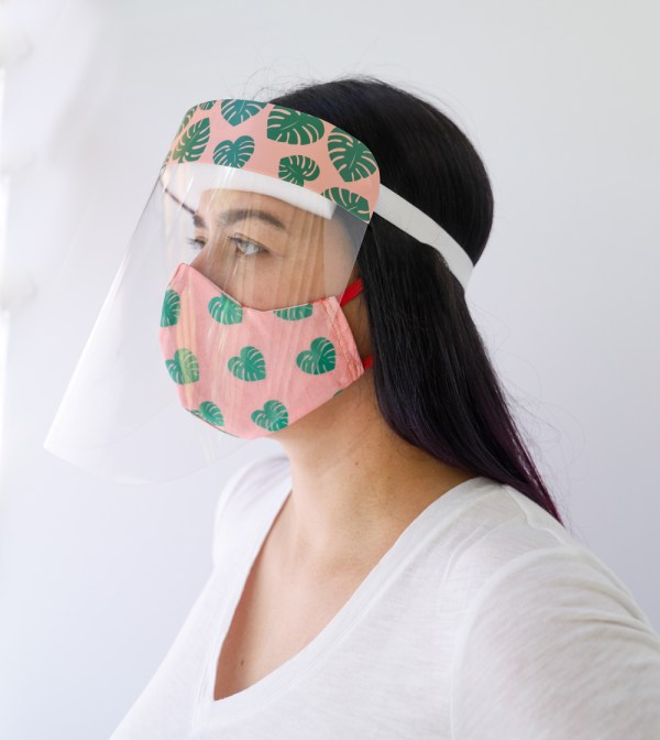 Monstera Face Shield with matching Monstera Reversible, double Sided Cotton Washable Adult Face Mask,Breathable Reversible Mask,Handmade in USA Face Mask