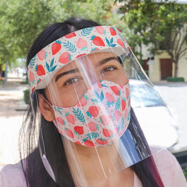 Strawberries Face Shield with matching cute strawberry Reversible, double Sided Cotton Washable Adult Face Mask,Breathable Reversible Mask,Handmade in USA Face Mask
