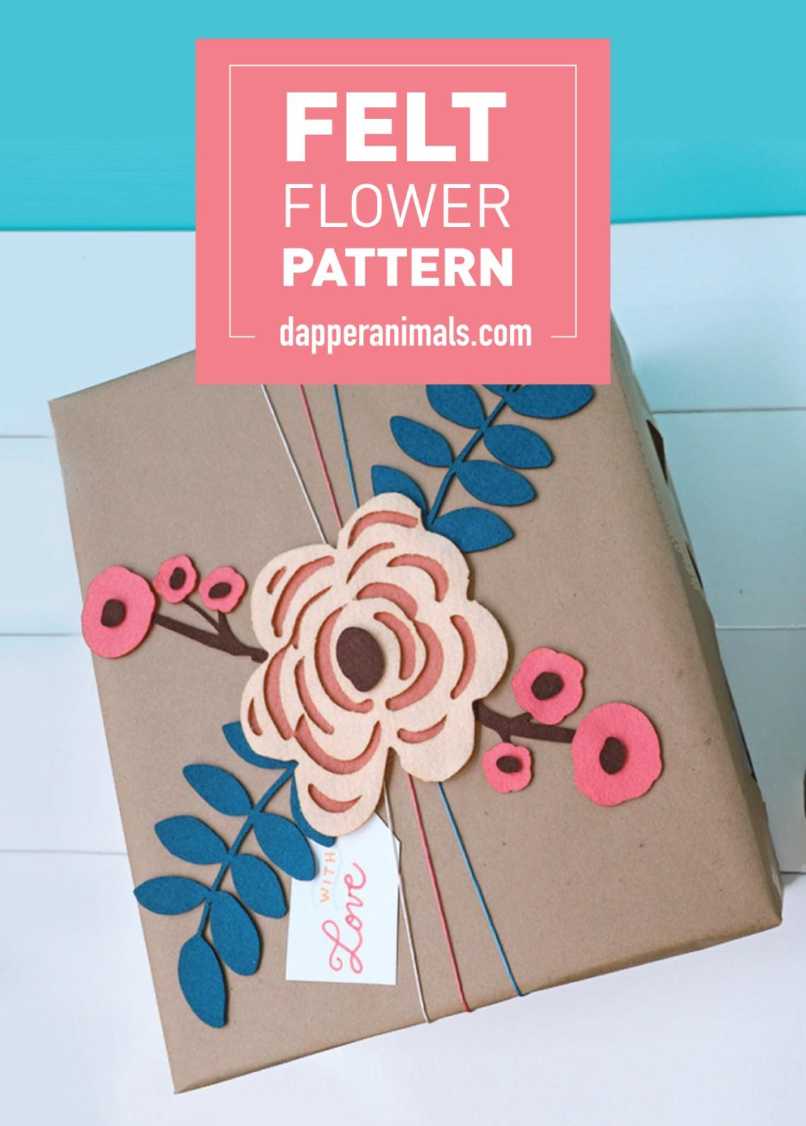 Felt Flower Pattern to add detail to gift wrap tutorial