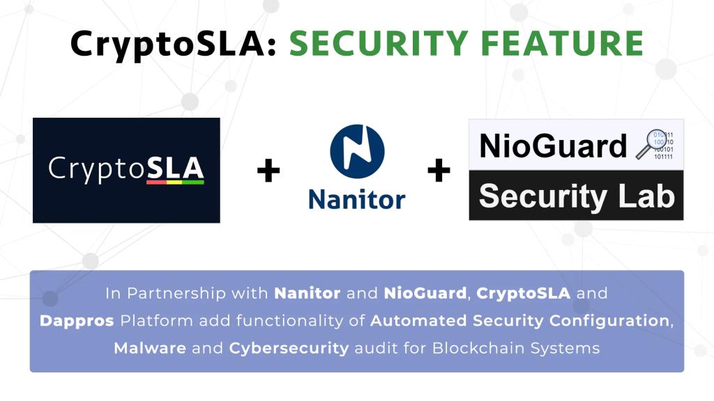 blockchain cyber security - partnership CryptoSLA, Nanitor, NioGuard