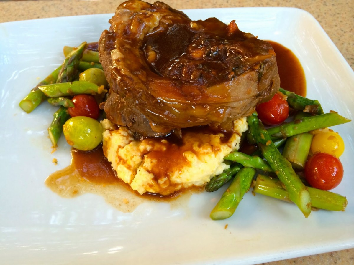 The osso buco, served with polenta  and seasonal veggies, is gluten free.