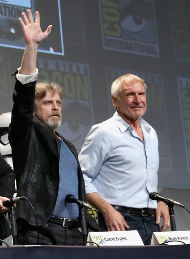 SAN DIEGO, CA - JULY 10: Actors Mark Hamill (L) and Harrison Ford at the Hall H Panel for `Star Wars: The Force Awakens` during Comic-Con International 2015 at the San Diego Convention Center on July 10, 2015 in San Diego, California. (Photo by Jesse Grant/Getty Images for Disney) *** Local Caption *** Mark Hamill; Harrison Ford