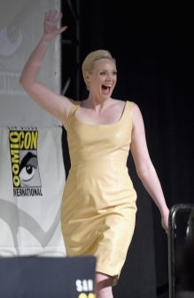 SAN DIEGO, CA - JULY 10: Actress Gwendoline Christie at the Hall H Panel for `Star Wars: The Force Awakens` during Comic-Con International 2015 at the San Diego Convention Center on July 10, 2015 in San Diego, California. (Photo by Michael Buckner/Getty Images for Disney) *** Local Caption *** Gwendoline Christie