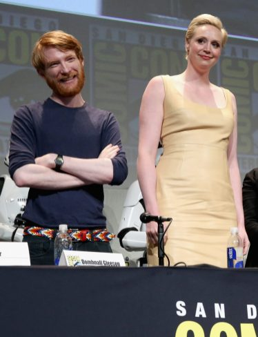 SAN DIEGO, CA - JULY 10: Domhnall Gleeson (L) and Gwendoline Christie at the Hall H Panel for `Star Wars: The Force Awakens` during Comic-Con International 2015 at the San Diego Convention Center on July 10, 2015 in San Diego, California. (Photo by Jesse Grant/Getty Images for Disney) *** Local Caption *** Domhnall Gleeson; Gwendoline Christie