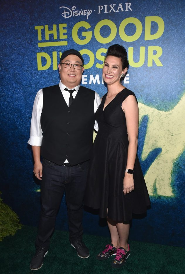 HOLLYWOOD, CA - NOVEMBER 17: Director Peter Sohn (L) and artist Anna Chambers attend the World Premiere Of Disney-Pixar's THE GOOD DINOSAUR at the El Capitan Theatre on November 17, 2015 in Hollywood, California. (Photo by Alberto E. Rodriguez/Getty Images for Disney) *** Local Caption *** Peter Sohn; Anna Chambers