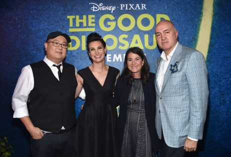 HOLLYWOOD, CA - NOVEMBER 17: (L-R) Director Peter Sohn, artist Anna Chambers, producer Denise Ream and Visual effects supervisor Roger Guyett attend the World Premiere Of Disney-Pixar's THE GOOD DINOSAUR at the El Capitan Theatre on November 17, 2015 in Hollywood, California. (Photo by Alberto E. Rodriguez/Getty Images for Disney) *** Local Caption *** Peter Sohn; Anna Chambers; Denise Ream; Roger Guyett