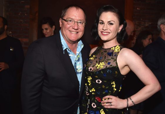 HOLLYWOOD, CA - NOVEMBER 17: Executive producer John Lasseter (L) and actress Anna Paquin attend the World Premiere Of Disney-Pixar's THE GOOD DINOSAUR at the El Capitan Theatre on November 17, 2015 in Hollywood, California. (Photo by Alberto E. Rodriguez/Getty Images for Disney) *** Local Caption *** John Lasseter; Anna Paquin