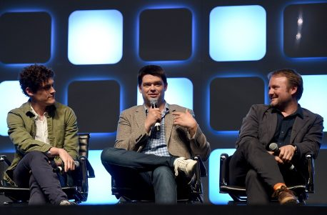 """LONDON, ENGLAND - JULY 17: (L-R) Phil Lord, Chris Miller, directors of """"Untitled Han Solo Star Wars Story"""", and Rian Johnson, director of Star Wars Episode VIII, on stage during Future Directors Panel at the Star Wars Celebration 2016 at ExCel on July 17, 2016 in London, England. (Photo by Ben A. Pruchnie/Getty Images for Walt Disney Studios) *** Local Caption *** Phil Lord; Chris Miller; Rian Johnson"""