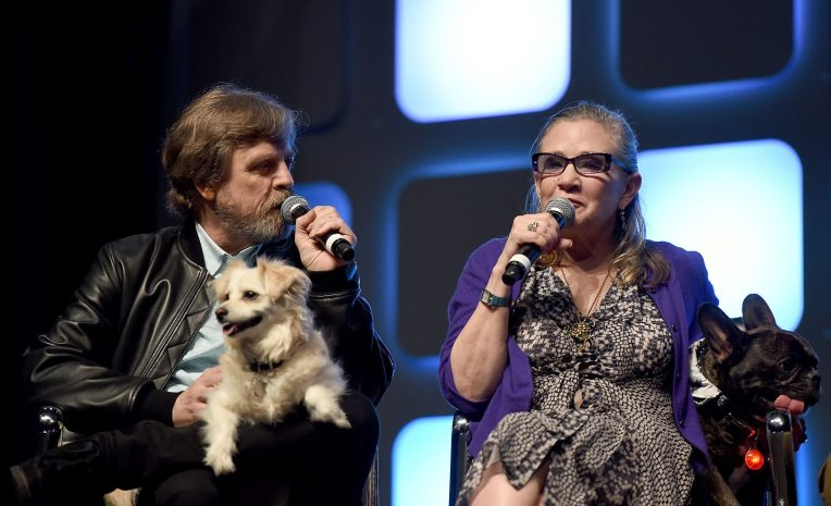 LONDON, ENGLAND - JULY 17: Mark Hamill, Carrie Fisher and her dog Gary on stage during Future Directors Panel at the Star Wars Celebration 2016 at ExCel on July 17, 2016 in London, England. (Photo by Ben A. Pruchnie/Getty Images for Walt Disney Studios) *** Local Caption *** Mark Hamill; Carrie Fisher; Gary Fisher