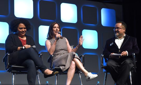 LONDON, ENGLAND - JULY 17: Kiri Hart, SVP of Development, and Kathleen Kennedy, President of Lucasfilm, and Pablo Hidalgo on stage during Future Directors panel at the Star Wars Celebration 2016 at ExCel on July 17, 2016 in London, England. (Photo by Ben A. Pruchnie/Getty Images for Walt Disney Studios) *** Local Caption *** Kiri Hart; Kathleen Kennedy; Pablo Hidalgo