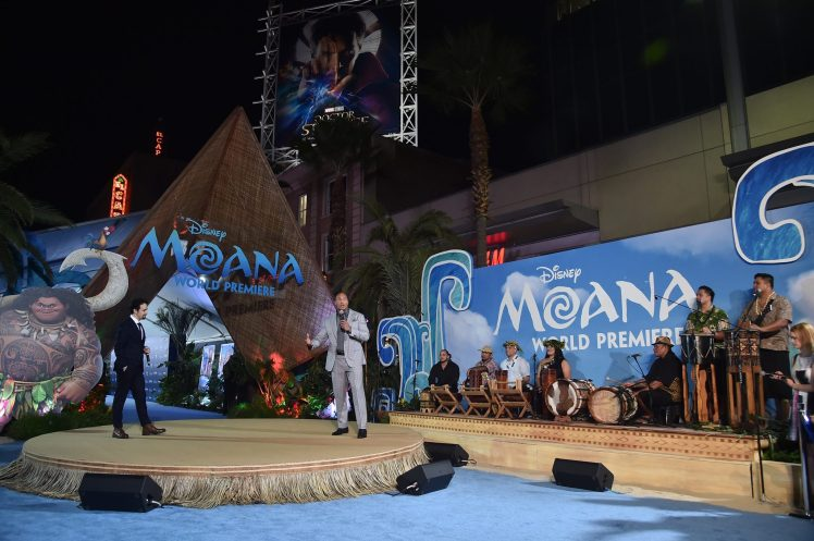"""HOLLYWOOD, CA - NOVEMBER 14: Actor Dwayne Johnson (C) speaks onstage at The World Premiere of Disney's """"MOANA"""" at the El Capitan Theatre on Monday, November 14, 2016 in Hollywood, CA. (Photo by Alberto E. Rodriguez/Getty Images for Disney) *** Local Caption *** Dwayne Johnson"""
