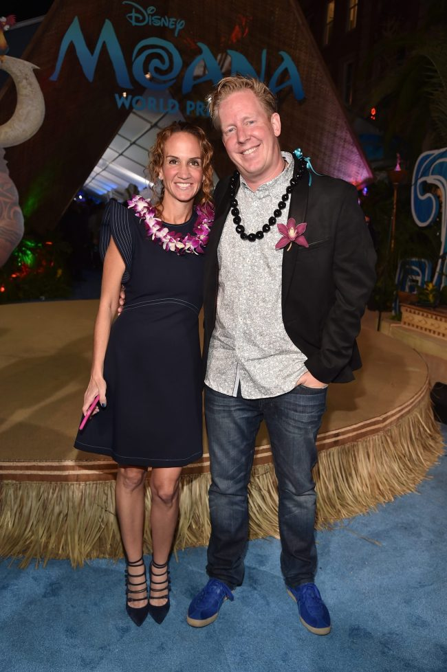 """HOLLYWOOD, CA - NOVEMBER 14: Screenwriter Jared Bush (R) and guest attend The World Premiere of Disney's """"MOANA"""" at the El Capitan Theatre on Monday, November 14, 2016 in Hollywood, CA. (Photo by Alberto E. Rodriguez/Getty Images for Disney) *** Local Caption *** Jared Bush"""