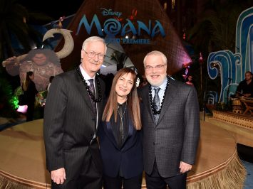 """HOLLYWOOD, CA - NOVEMBER 14: (L-R) Director John Musker, producer Osnat Shurer, and director Ron Clements attend The World Premiere of Disney's """"MOANA"""" at the El Capitan Theatre on Monday, November 14, 2016 in Hollywood, CA. (Photo by Alberto E. Rodriguez/Getty Images for Disney) *** Local Caption *** John Musker; Osnat Shurer; Ron Clements"""