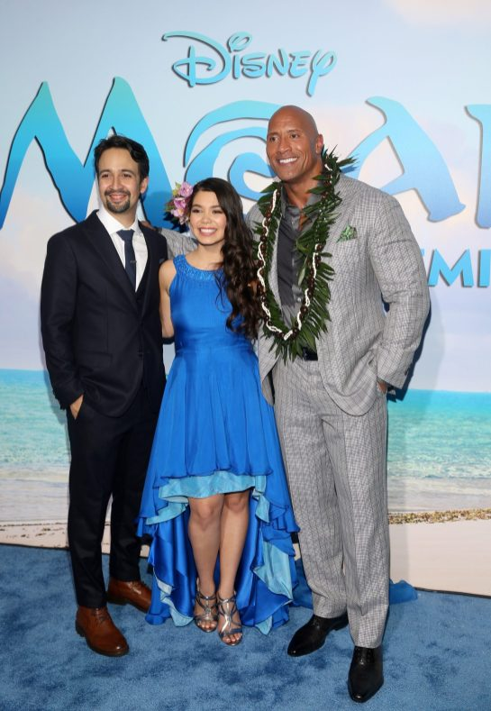 """HOLLYWOOD, CA - NOVEMBER 14: (L-R) Songwriter Lin-Manuel Miranda, actors Auli'i Cravalho and Dwayne Johnson attend The World Premiere of Disney's """"MOANA"""" at the El Capitan Theatre on Monday, November 14, 2016 in Hollywood, CA. (Photo by Jesse Grant/Getty Images for Disney) *** Local Caption *** Auli'i Cravalho; Dwayne Johnson; Lin-Manuel Miranda"""