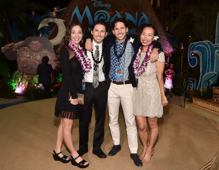 """HOLLYWOOD, CA - NOVEMBER 14: Writers Jordan Kandell (2nd L), Aaron Kandell (2nd R) and guests attend The World Premiere of Disney's """"MOANA"""" at the El Capitan Theatre on Monday, November 14, 2016 in Hollywood, CA. (Photo by Alberto E. Rodriguez/Getty Images for Disney) *** Local Caption *** Aaron Kandell; Jordan Kandell"""