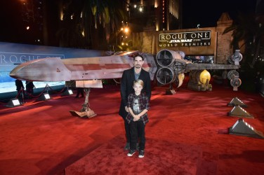 "HOLLYWOOD, CA - DECEMBER 10: Singer Kevin Richardson of the Backstreet Boys (L) and Mason Richardson attend The World Premiere of Lucasfilm's highly anticipated, first-ever, standalone Star Wars adventure, ""Rogue One: A Star Wars Story"" at the Pantages Theatre on December 10, 2016 in Hollywood, California. (Photo by Marc Flores/Getty Images for Disney) *** Local Caption *** Kevin Richardson; Mason Richardson"