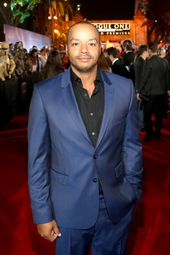 "HOLLYWOOD, CA - DECEMBER 10: Actor Donald Faison attends The World Premiere of Lucasfilm's highly anticipated, first-ever, standalone Star Wars adventure, ""Rogue One: A Star Wars Story"" at the Pantages Theatre on December 10, 2016 in Hollywood, California. (Photo by Jesse Grant/Getty Images for Disney) *** Local Caption *** Donald Faison"