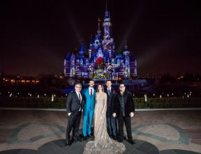 Bill Condon, Dan Stevens, Emma Watson, Luke Evans and Josh Gad at the Shanghai Disney Resort for Beauty and the Beast.
