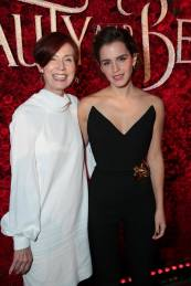 """Linda Woolverton and Emma Watson arrive for the world premiere of Disney's live-action """"Beauty and the Beast"""" at the El Capitan Theatre in Hollywood as the cast and filmmakers continue their worldwide publicity tour. (Photo: Alex J. Berliner/ABImages)"""