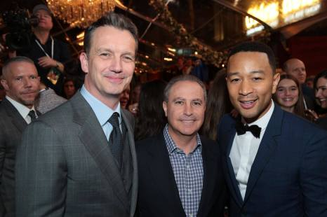 """Shawn Bailey, Alan Bergman and John Legend arrive for the world premiere of Disney's live-action """"Beauty and the Beast"""" at the El Capitan Theatre in Hollywood as the cast and filmmakers continue their worldwide publicity tour. (Photo: Alex J. Berliner/ABImages)"""