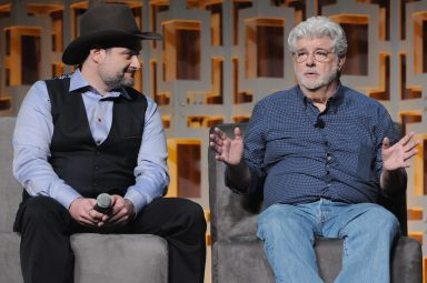 ORLANDO, FL - APRIL 13: Dave Filoni and George Lucas attend the 40 YEARS OF STAR WARS PANEL during the 2017 STAR WARS CELEBRATION at Orange County Convention Center on April 13, 2017 in Orlando, Florida. (Photo by Gerardo Mora/Getty Images for Disney) *** Local Caption *** Dave Filoni, George Lucas