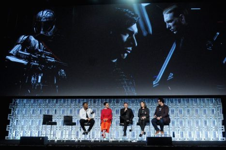 ORLANDO, FL - APRIL 14: John Boyega, Daisy Ridley, Rian Johnson, Kathleen Kennedy and Josh Gad attend the STAR WARS: THE LAST JEDI PANEL during the 2017 STAR WARS CELEBRATION at Orange County Convention Center on April 14, 2017 in Orlando, Florida. (Photo by Gerardo Mora/Getty Images for Disney) *** Local Caption *** John Boyega, Daisy Ridley;Rian Johnson;Kathleen Kennedy;Josh Gad