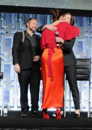 ORLANDO, FL - APRIL 14: Rian Johnson, Daisy Ridley and Kathleen Kennedy attend the STAR WARS: THE LAST JEDI PANEL during the 2017 STAR WARS CELEBRATION at Orange County Convention Center on April 14, 2017 in Orlando, Florida. (Photo by Gerardo Mora/Getty Images for Disney) *** Local Caption *** Rian Johnson, Daisy Ridley, Kathleen Kennedy