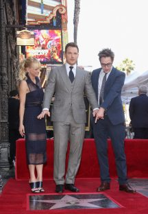 HOLLYWOOD, CA - APRIL 21: (L-R) Actors Anna Faris, Chris Pratt and Writer/director James Gunn at the Chris Pratt Walk Of Fame Star Ceremony on April 21, 2017 in Hollywood, California. (Photo by Jesse Grant/Getty Images for Disney) *** Local Caption *** Anna Faris; Chris Pratt; James Gunn