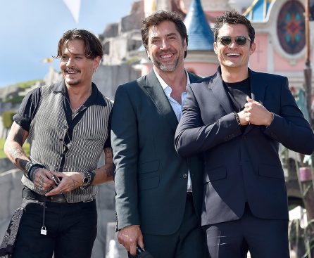 PARIS, FRANCE - MAY 14: Johnny Depp, Javier Bardem and Orlando Bloom attend the European Premiere to celebrate the release of Disney's 'Pirates of the Caribbean: Salazar's Revenge' at Disneyland Paris on May 14, 2017 in Paris, France. (Photo by Kristy Sparow/Getty Images for Disney) *** Local Caption *** Geoffrey Rush; Johnny Depp; Javier Bardem; Orlando Bloom