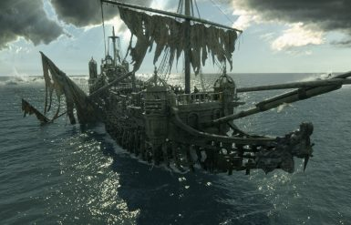 """""""PIRATES OF THE CARIBBEAN: DEAD MEN TELL NO TALES""""..The villainous Captain Salazar (Javier Bardem) pursues Jack Sparrow (Johnny Depp) as he searches for the trident used by Poseidon..Pictured: Captain Salazar's ship """"The Silent Mary""""..Ph: Film Frame..© Disney Enterprises, Inc. All Rights Reserved."""