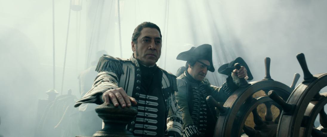 """""""PIRATES OF THE CARIBBEAN: DEAD MEN TELL NO TALES""""..The villainous Captain Salazar (Javier Bardem) pursues Jack Sparrow (Johnny Depp) as he searches for the trident used by Poseidon..Ph: Film Frame..©Disney Enterprises, Inc. All Rights Reserved."""