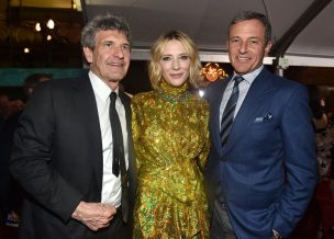 """HOLLYWOOD, CA - OCTOBER 10: (L-R) Chairman, The Walt Disney Studios, Alan Horn, actor Cate Blanchett and The Walt Disney Company Chairman and CEO Bob Iger at The World Premiere of Marvel Studios' """"Thor: Ragnarok"""" at the El Capitan Theatre on October 10, 2017 in Hollywood, California. (Photo by Alberto E. Rodriguez/Getty Images for Disney) *** Local Caption *** Alan Horn; Cate Blanchett; Bob Iger"""