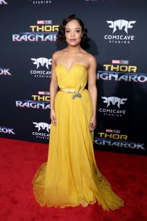 """HOLLYWOOD, CA - OCTOBER 10: Actor Tessa Thompson at The World Premiere of Marvel Studios' """"Thor: Ragnarok"""" at the El Capitan Theatre on October 10, 2017 in Hollywood, California. (Photo by Rich Polk/Getty Images for Disney) *** Local Caption *** Tessa Thompson"""