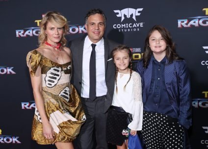 """HOLLYWOOD, CA - OCTOBER 10: (L-R) Actors Sunrise Coigney, Mark Ruffalo, Odette Ruffalo and Bella Noche Ruffalo at The World Premiere of Marvel Studios' """"Thor: Ragnarok"""" at the El Capitan Theatre on October 10, 2017 in Hollywood, California. (Photo by Rich Polk/Getty Images for Disney) *** Local Caption *** Sunrise Coigney; Mark Ruffalo; Odette Ruffalo; Bella Noche Ruffalo"""