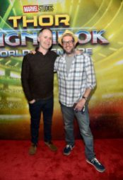 """HOLLYWOOD, CA - OCTOBER 10: Composers Tom MacDougall (L) and Michael Giacchino at The World Premiere of Marvel Studios' """"Thor: Ragnarok"""" at the El Capitan Theatre on October 10, 2017 in Hollywood, California. (Photo by Alberto E. Rodriguez/Getty Images for Disney) *** Local Caption *** Tom MacDougall; Michael Giacchino"""