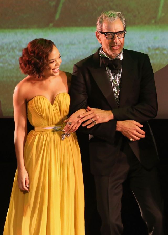 """HOLLYWOOD, CA - OCTOBER 10: Actors Tessa Thompson (L) and Jeff Goldblum at The World Premiere of Marvel Studios' """"Thor: Ragnarok"""" at the El Capitan Theatre on October 10, 2017 in Hollywood, California. (Photo by Jesse Grant/Getty Images for Disney) *** Local Caption *** Tessa Thompson; Jeff Goldblum"""