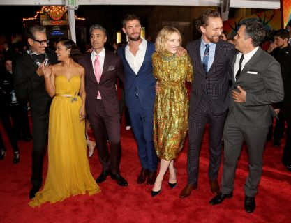 """HOLLYWOOD, CA - OCTOBER 10: (L-R) Actors Jeff Goldblum, Tessa Thompson, Director Taika Waititi, actors Chris Hemsworth, Cate Blanchett, Tom Hiddleston and Mark Ruffalo at The World Premiere of Marvel Studios' """"Thor: Ragnarok"""" at the El Capitan Theatre on October 10, 2017 in Hollywood, California. (Photo by Jesse Grant/Getty Images for Disney) *** Local Caption *** Jeff Goldblum; Tessa Thompson; Taika Waititi; Chris Hemsworth; Cate Blanchett; Tom Hiddleston; Mark Ruffalo"""