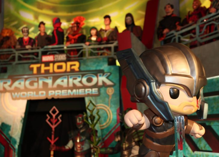 """HOLLYWOOD, CA - OCTOBER 10: A view of the atmosphere at The World Premiere of Marvel Studios' """"Thor: Ragnarok"""" at the El Capitan Theatre on October 10, 2017 in Hollywood, California. (Photo by Rich Polk/Getty Images for Disney)"""