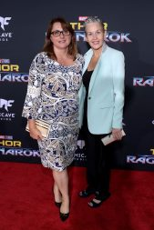 """HOLLYWOOD, CA - OCTOBER 10: Executive producer Victoria Alonso (L) and guest at The World Premiere of Marvel Studios' """"Thor: Ragnarok"""" at the El Capitan Theatre on October 10, 2017 in Hollywood, California. (Photo by Rich Polk/Getty Images for Disney) *** Local Caption *** Victoria Alonso"""