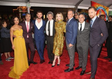 """HOLLYWOOD, CA - OCTOBER 10: (L-R) Actor Tessa Thompson, Director Taika Waititi, Actor Chris Hemsworth, Chairman, The Walt Disney Studios, Alan Horn, Actor Cate Blanchett, The Walt Disney Company Chairman and CEO, Bob Iger, Actors Mark Ruffalo and Tom Hiddleston at The World Premiere of Marvel Studios' """"Thor: Ragnarok"""" at the El Capitan Theatre on October 10, 2017 in Hollywood, California. (Photo by Jesse Grant/Getty Images for Disney) *** Local Caption *** Tessa Thompson; Taika Waititi; Chris Hemsworth; Alan Horn; Cate Blanchett; Bob Iger; Mark Ruffalo; Tom Hiddleston"""