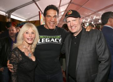 """HOLLYWOOD, CA - OCTOBER 10: (L-R) Actors Carla Ferrigno, Lou Ferrigno and Producer Kevin Feige at The World Premiere of Marvel Studios' """"Thor: Ragnarok"""" at the El Capitan Theatre on October 10, 2017 in Hollywood, California. (Photo by Jesse Grant/Getty Images for Disney) *** Local Caption *** Carla Ferrigno; Lou Ferrigno; Kevin Feige"""
