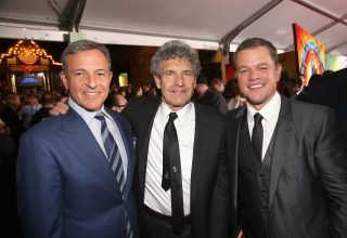"""HOLLYWOOD, CA - OCTOBER 10: (L-R) The Walt Disney Company Chairman and CEO, Bob Iger, Chairman, The Walt Disney Studios, Alan Horn and actor Matt Damon at The World Premiere of Marvel Studios' """"Thor: Ragnarok"""" at the El Capitan Theatre on October 10, 2017 in Hollywood, California. (Photo by Jesse Grant/Getty Images for Disney) *** Local Caption *** Bob Iger; Alan Horn; Matt Damon"""
