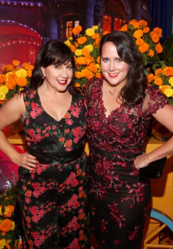 """HOLLYWOOD, CA - NOVEMBER 08: Songwriters Kristen Anderson-Lopez (L) and sister Kate Anderson at the U.S. Premiere of Disney-Pixarís """"Coco"""" at the El Capitan Theatre on November 8, 2017, in Hollywood, California. (Photo by Jesse Grant/Getty Images for Disney) *** Local Caption *** Kristen Anderson-Lopez; Kate Anderson"""