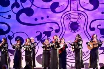 """HOLLYWOOD, CA - NOVEMBER 08: Mariachi Divas perform at the U.S. Premiere of Disney-Pixarís """"Coco"""" at the El Capitan Theatre on November 8, 2017, in Hollywood, California. (Photo by Alberto E. Rodriguez/Getty Images for Disney)"""