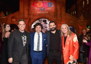 """HOLLYWOOD, CA - NOVEMBER 08: (L-R) Director Lee Unkrich, Actor Anthony Gonzalez, Co-director/Screenwriter Adrian Molina, and Producer Darla K. Anderson at the U.S. Premiere of Disney-Pixarís """"Coco"""" at the El Capitan Theatre on November 8, 2017, in Hollywood, California. (Photo by Alberto E. Rodriguez/Getty Images for Disney) *** Local Caption *** Lee Unkrich; Anthony Gonzalez; Adrian Molina; Darla K. Anderson"""