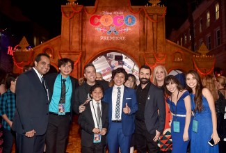 """HOLLYWOOD, CA - NOVEMBER 08: Director Lee Unkrich, Actor Anthony Gonzalez, Co-director/Screenwriter Adrian Molina, Producer Darla K. Anderson and guests at the U.S. Premiere of Disney-Pixarís """"Coco"""" at the El Capitan Theatre on November 8, 2017, in Hollywood, California. (Photo by Alberto E. Rodriguez/Getty Images for Disney) *** Local Caption *** Lee Unkrich; Anthony Gonzalez; Adrian Molina; Darla K. Anderson"""