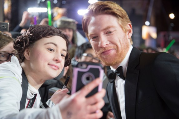 LONDON, UK DECEMBER 12: Domhnall Gleeson attends the European Premiere of Star Wars: The Last Jedi in the presence of HRH Duke of Cambridge and HRH Prince Harry at the Royal Albert Hall in London, UK on Tuesday 12th December 2017. *** Local Caption *** Domhnall Gleeson