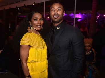 HOLLYWOOD, CA - JANUARY 29: Actors Angela Bassett (L) and Michael B. Jordan at the Los Angeles World Premiere of Marvel Studios' BLACK PANTHER at Dolby Theatre on January 29, 2018 in Hollywood, California. (Photo by Alberto E. Rodriguez/Getty Images for Disney) *** Local Caption *** Angela Bassett; Michael B. Jordan