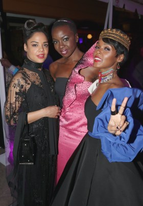 HOLLYWOOD, CA - JANUARY 29: (L-R) Actor Tessa Thompson, actor Danai Gurira and recording artist Janelle Monae at the Los Angeles World Premiere of Marvel Studios' BLACK PANTHER at Dolby Theatre on January 29, 2018 in Hollywood, California. (Photo by Jesse Grant/Getty Images for Disney) *** Local Caption *** Tessa Thompson; Danai Gurira; Janelle Monae